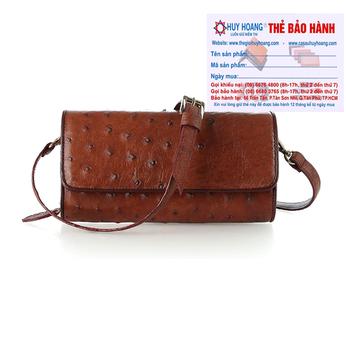 Túi đeo da đà điểu Huy Hoàng da bụng màu nâu đỏ HH6426