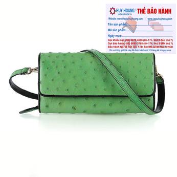 Túi đeo da đà điểu Huy Hoàng da bụng màu xanh lá HH6428