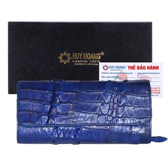 Túi xách nữ da cá sấu Huy Hoàng đeo chéo 2 gai màu xanh dương HH6283