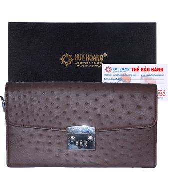Túi cầm tay nữ Huy Hoàng da đà điểu màu nâu đất HH6452