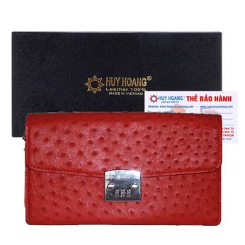 Túi cầm tay nữ Huy Hoàng da đà điểu màu đỏ HH6455