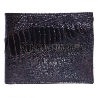Bóp nam Huy Hoàng da đà điểu da chân 2 mặt da màu nâu đất - HH2452