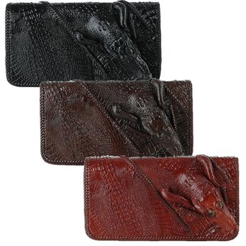 Ví cá sấu nhiều ngăn đầu cá sấu nhiều màu HH3730-31-33
