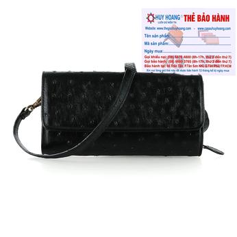 Túi đeo da đà điểu Huy Hoàng da bụng màu đen HH6423