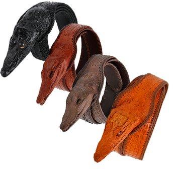 Dây nịt nam da cá sấu nguyên con lớn đầu cá sấu nhiều màu HH4252-53-54-55