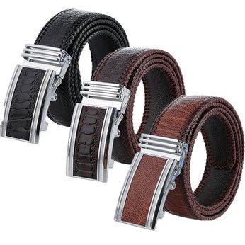 Thắt lưng nam da đà điểu đan viền bản lớn nhiều màu HH4458-62-70