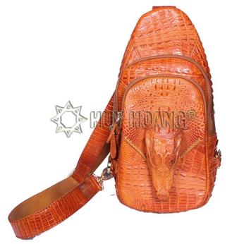 HH6704 - Túi đeo trước nam da cá sấu Huy Hoàng con cá sấu màu vàng bò