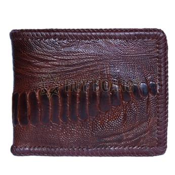 Bóp nam Huy Hoàng da đà điểu da chân đan viền màu nâu đỏ - HH2437