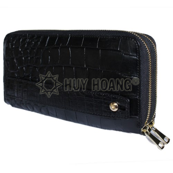 HH3750 - Ví nữ da cá sấu Huy Hoàng trơn nhiều ngăn cầm tay màu đen