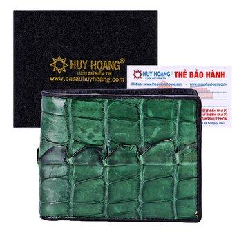 Bóp nam Huy Hoàng da cá sấu gai đuôi màu xanh rêu HH2742
