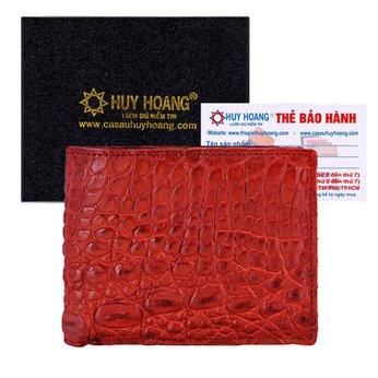Bóp nam Huy Hoàng da cá sấu Vip 2 mặt da màu nâu đỏ HH2727