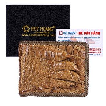 Bóp nam Huy Hoàng da cá sấu đan viền gù chân màu rêu HH2721