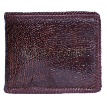 Bóp nam Huy Hoàng da đà điểu trơn đan viền màu nâu đỏ - HH2424
