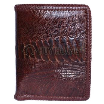 Bóp nam Huy Hoàng da đà điểu da chân đan viền kiểu đứng màu nâu đỏ - HH2445