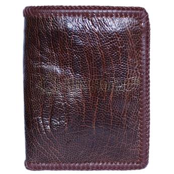 Bóp nam Huy Hoàng da đà điểu da trơn đan viền kiểu đứng màu nâu đỏ - HH2449