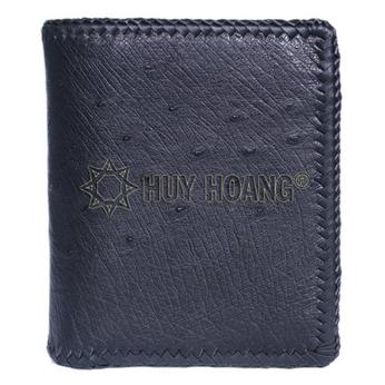 HH2459 - Bóp nam Huy Hoàng da đà điểu da bụng kiểu đứng đan viên màu đen