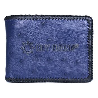 HH2463 - Bóp nam Huy Hoàng da đà điểu da bụng đan viên màu xanh đậm