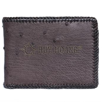 HD2440 - Bóp nam Huy Hoàng da đà điểu da bụng đan viên màu nâu đất