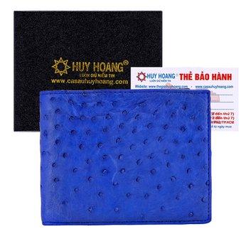 Bóp nam da đà điểu Huy Hoàng da bụng màu xanh đậm HH2414