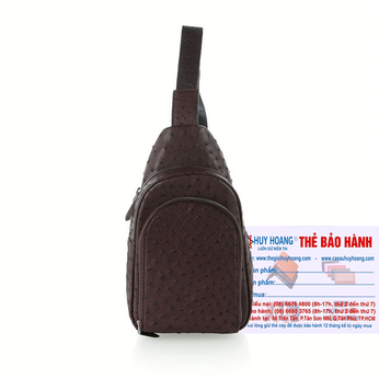 Túi đeo trước nam da đà điểu Huy Hoàng màu nâu đất HH6444