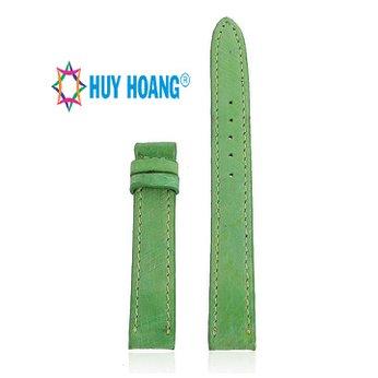 HH8460 - Dây đồng hồ Huy Hoàng da đà điểu da bụng size nhỏ màu xanh lá