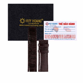Dây đồng hồ da đà điểu Huy Hoàng màu nâu đất HH8410