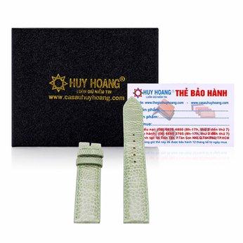 Dây đồng hồ da đà điểu Huy Hoàng màu xanh lá cây HH8405