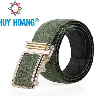 HH4476 - Dây nịt nam da đà điểu Huy Hoàng màu xanh rêu