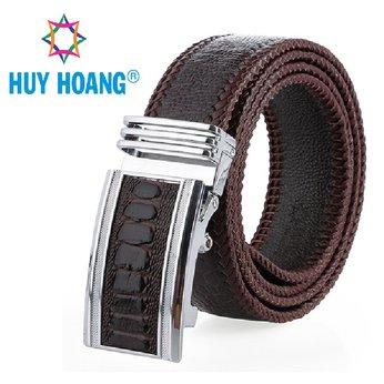 HH4462 - Dây nịt nam da đà điểu Huy Hoàng đan viền bản lớn màu nâu đất