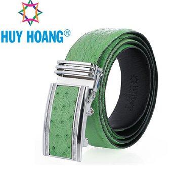 HH4479 - Dây nịt nam da đà điểu Huy Hoàng da hột bản lớn màu xanh lá