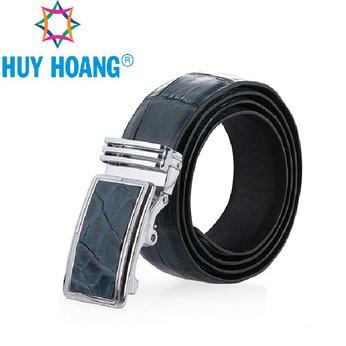HH4801 - Dây nịt nam da cá sấu Huy Hoàng nguyên con bụng màu xanh đậm
