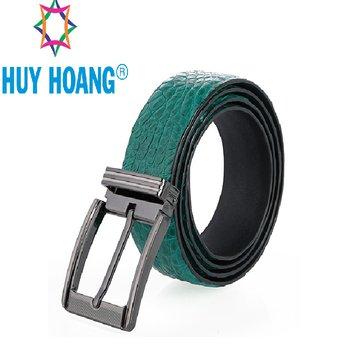 HH4803 - Dây nịt nam da cá sấu Huy Hoàng gai bụng đầu kim màu xanh lá