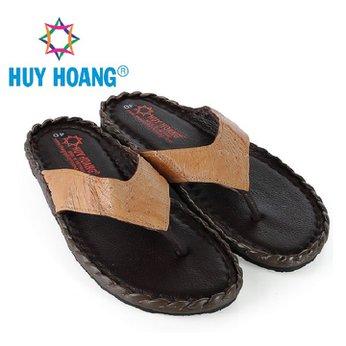 HH7419 - Dép nam da đà điểu Huy Hoàng da hột đan màu vàng bò