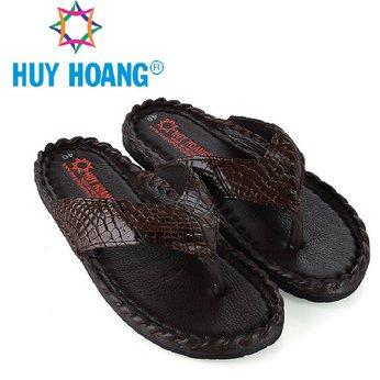 HH7230 - Dép nam Huy Hoàng da cá sấu kiểu đan màu nâu đất