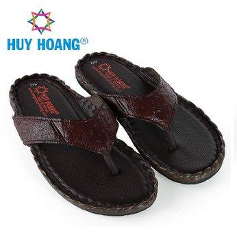 HH7418 - Dép nam da đà điểu Huy Hoàng da hột đan màu nâu đất