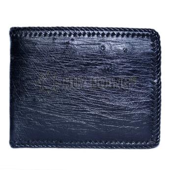 Bóp nam Huy Hoàng da đà điểu da bụng đan viên màu đen - HH2439