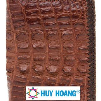 Bóp nam Huy Hoàng da cá sấu gai lưng màu đỏ HH2268