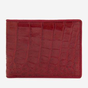 Bóp nam Huy Hoàng da cá sấu gai bụng màu đỏ HH2269