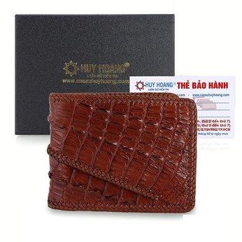 Bóp nam Huy Hoàng da cá sấu đan viền 2 gai màu nâu đỏ HH2774