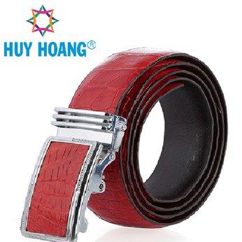 HH4256 - Thắt lưng nam da cá sấu Huy Hoàng gai bụng màu đỏ