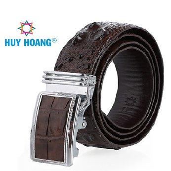 HH4270 - Dây nịt nam da cá sấu Huy Hoàng nguyên con màu nâu đất