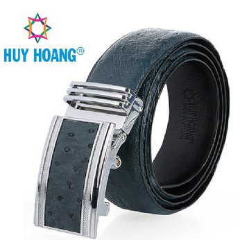 HH4454 - Dây nịt nam da đà điểu Huy Hoàng bản lớn da hột màu xanh đậm