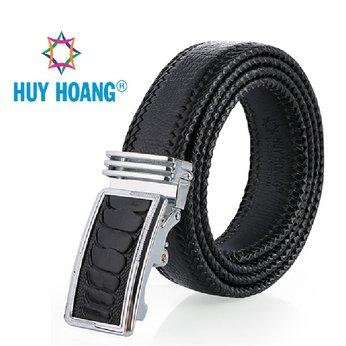 HH4456 - Dây nịt nam da đà điểu Huy Hoàng đan viền màu đen