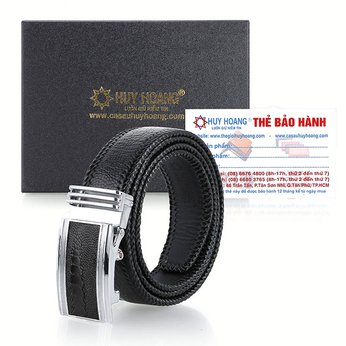 Thắt lưng nam da đà điểu đan viền bản lớn màu đen HH4458