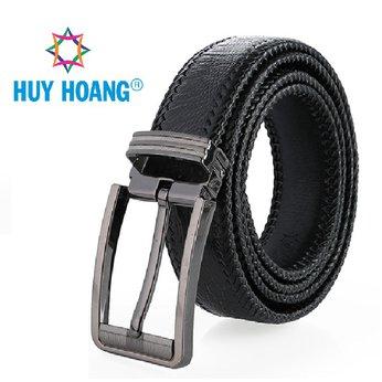 HH4459 - Dây nịt nam da đà điểu Huy Hoàng đan viền bản lớn đầu kim màu đen