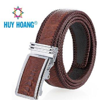 HH4468 - Dây nịt nam da đà điểu Huy Hoàng đan viền màu nâu đỏ