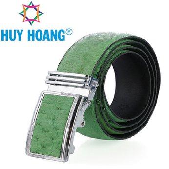 HH4478 - Dây nịt nam da đà điểu Huy Hoàng da hột màu xanh lá