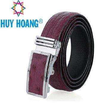 HH4483 - Dây nịt nam da đà điểu Huy Hoàng da hột màu tím