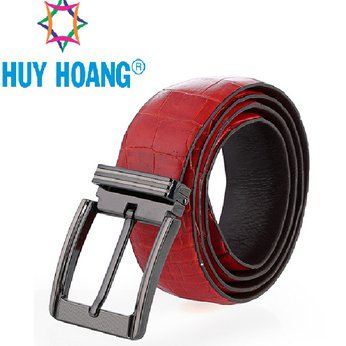HH4799 - Dây nịt nam da cá sấu Huy Hoàng gai bụng đầu kim màu đỏ