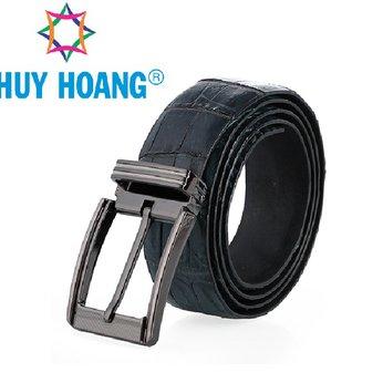 HH4800 - Dây nịt nam da cá sấu Huy Hoàng nguyên con bụng đầu kim màu xanh đậm